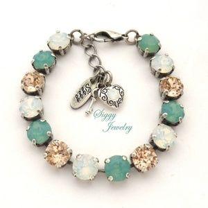 Jewelry - Swarovski® Crystal Bracelet, Mint Green and White